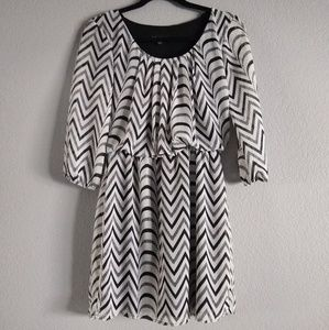 City Triangles Dresses - Black & White Patterned Dress